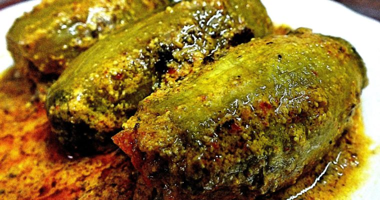 Potoler Dolma/Stuffed Pointed Gourd (Traditional Bengali stuffed dish)